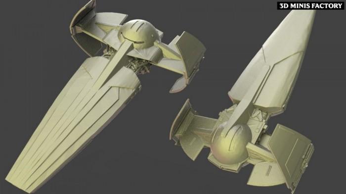 Sith infiltrator des Empire créé par Warblade Studio de 3D Minis Factory