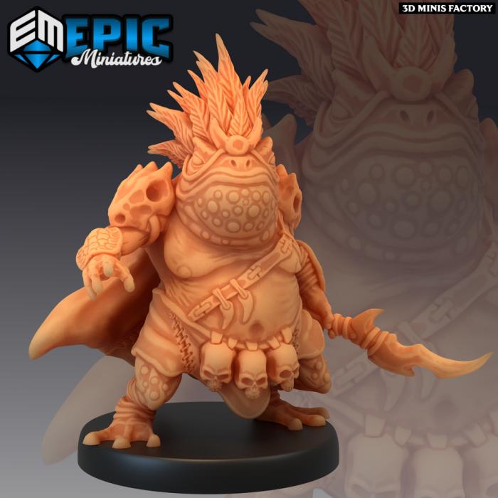 Toad Folk Chief des Dark Swamp créé par Epic Miniatures de 3D Minis Factory