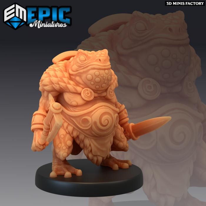Toad Folk Warrior des Dark Swamp créé par Epic Miniatures de 3D Minis Factory