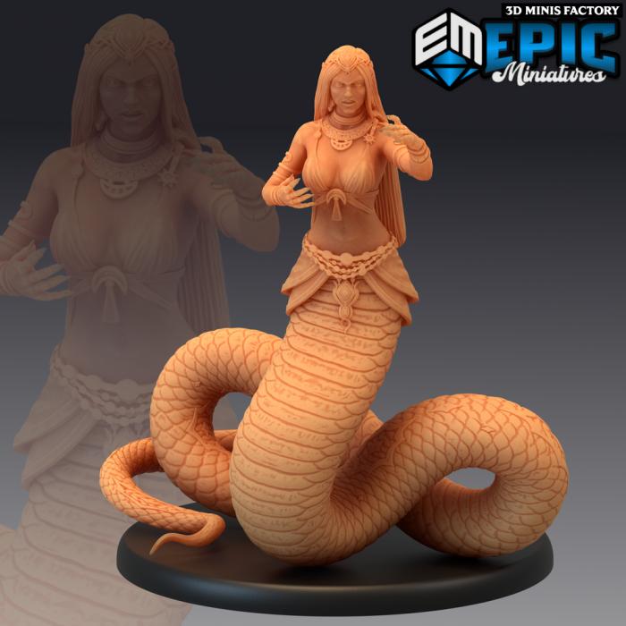 Lamia Angry des Dark Swamp créé par Epic Miniatures de 3D Minis Factory