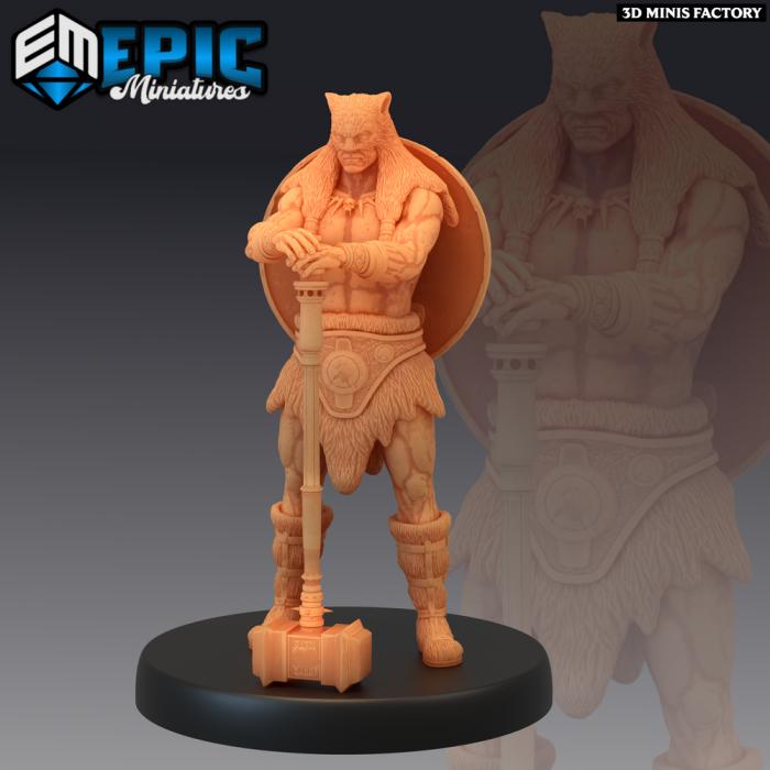 Barbarian Champion Hammer des Dark Swamp créé par Epic Miniatures de 3D Minis Factory