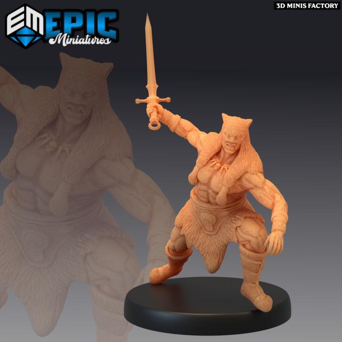 Barbarian Champion Sword des Dark Swamp créé par Epic Miniatures de 3D Minis Factory