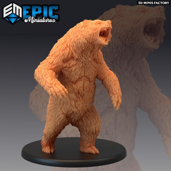 Grizzly Bear Angry des Dark Swamp créé par Epic Miniatures de 3D Minis Factory
