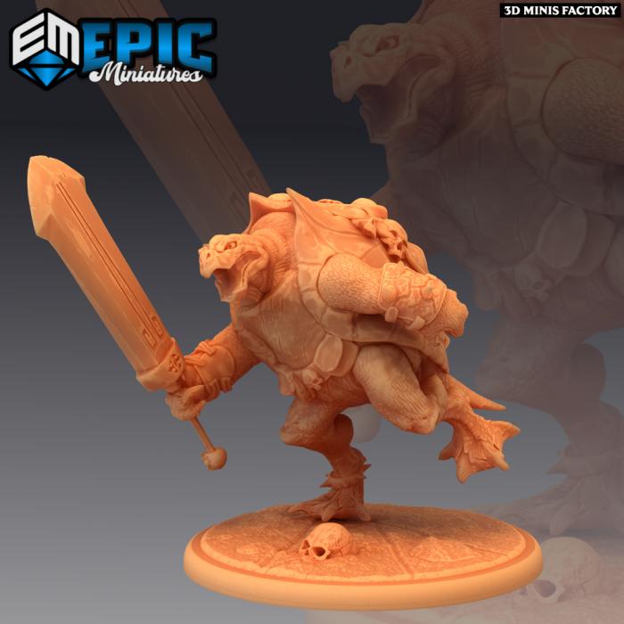 Skull Turtle Attacking des Psionic Overlords créé par Epic Miniatures de 3D Minis Factory