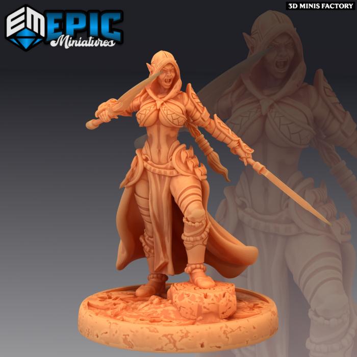 Dark Elf Rogue Attacking des Psionic Overlords créé par Epic Miniatures de 3D Minis Factory
