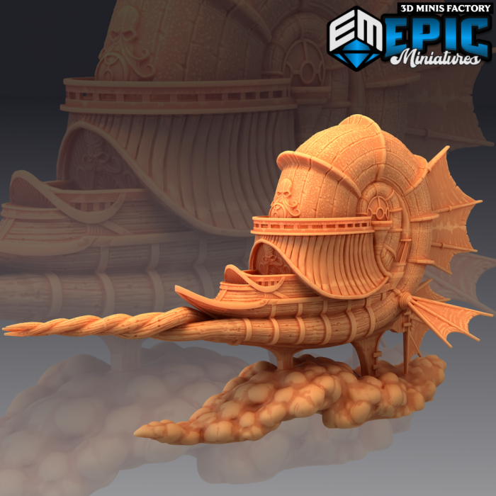 Nautiloid Air Ship des Psionic Overlords créé par Epic Miniatures de 3D Minis Factory