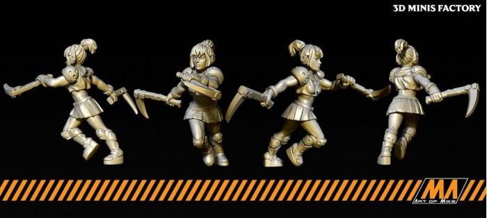 SchoolGirl03 des Apocalypse Survivor créé par Art of Mike de 3D Minis Factory