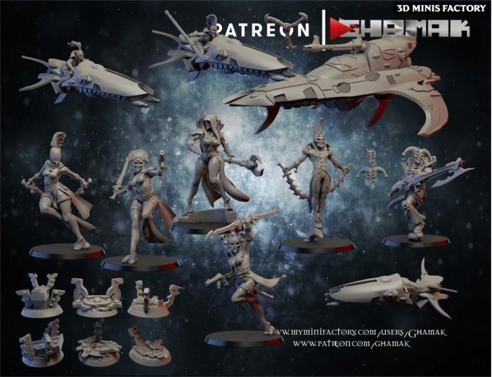 Joker Space Elves Army des Eldars créé par Ghamak de 3D Minis Factory