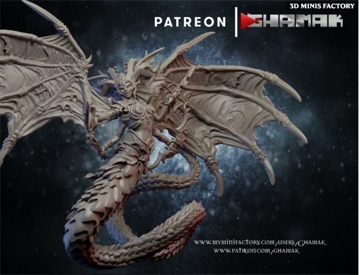 Dark Elf Queen des Dark Elves créé par Ghamak de 3D Minis Factory
