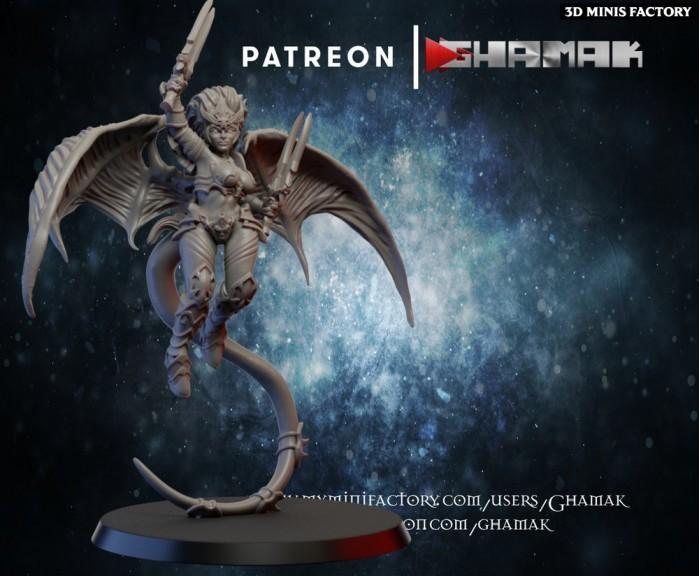 Harpie Dark Elf 3 des Dark Elves créé par Ghamak de 3D Minis Factory