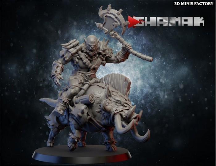 Orc Rider 2 des Orcs & Gobs créé par Ghamak de 3D Minis Factory