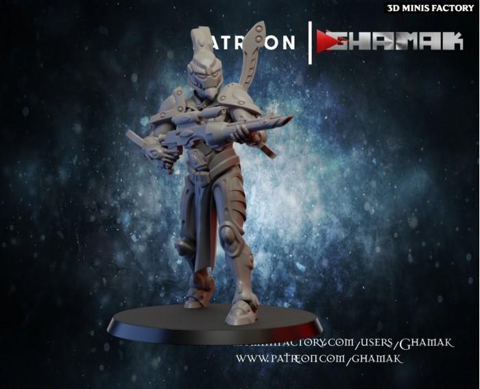Amish Space Elf Guardian 4 des Eldars créé par Ghamak de 3D Minis Factory