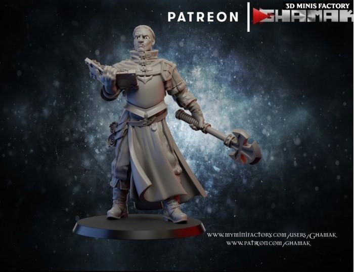 Priest 1 des Humans créé par Ghamak de 3D Minis Factory