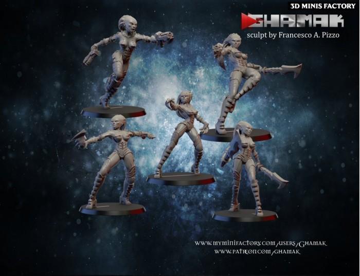 Forgoten Warriors Team des Human créé par Ghamak de 3D Minis Factory