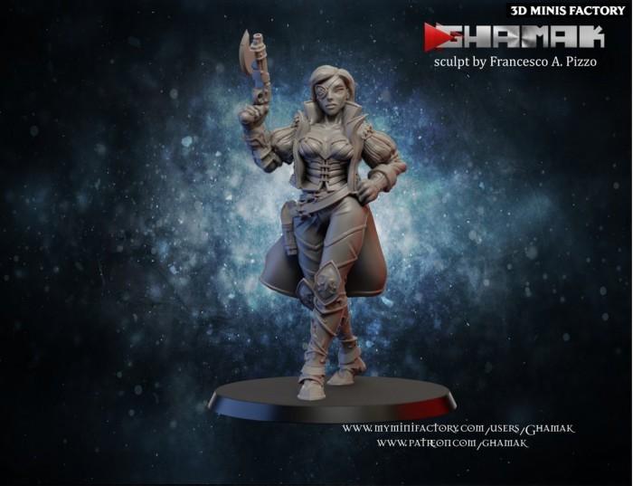 Witch Hunter Female des Humans créé par Ghamak de 3D Minis Factory