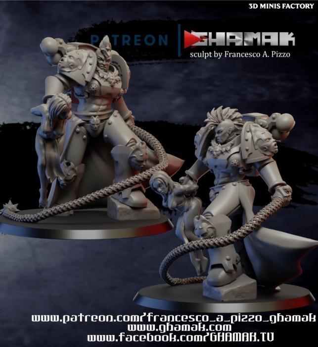 Chaos Champion With Slave des Chaos créé par Ghamak de 3D Minis Factory