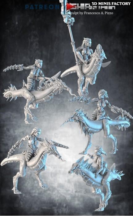 Female Daemons On Demon Steeds des Daemon créé par Ghamak de 3D Minis Factory