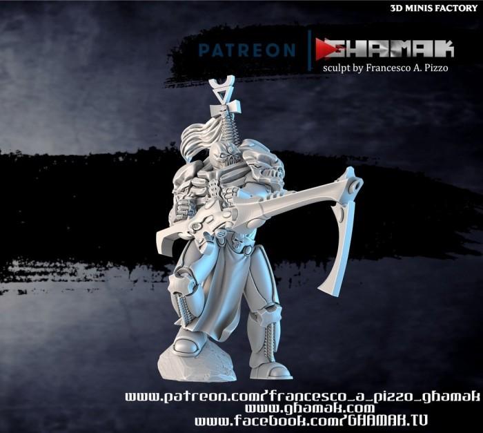 Grim Reaper Leader Aspect Warrior des Eldars créé par Ghamak de 3D Minis Factory