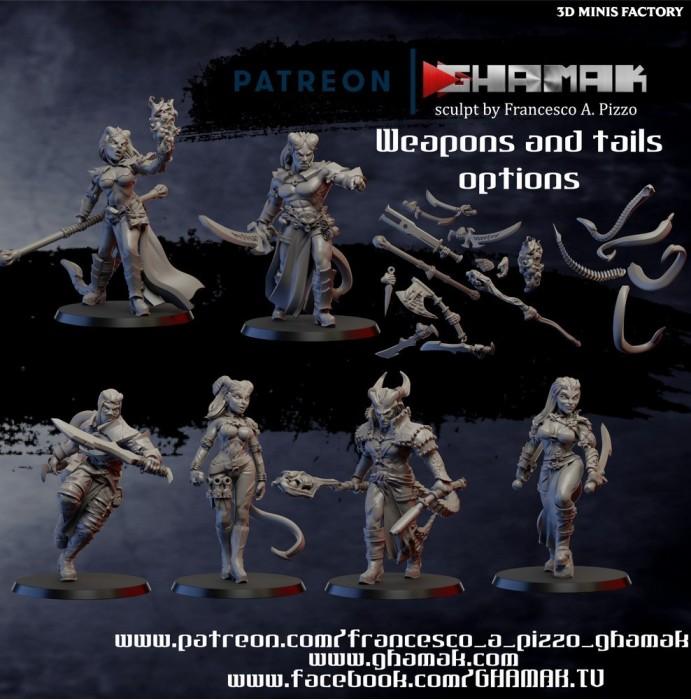 Tiefling Team des Daemon créé par Ghamak de 3D Minis Factory