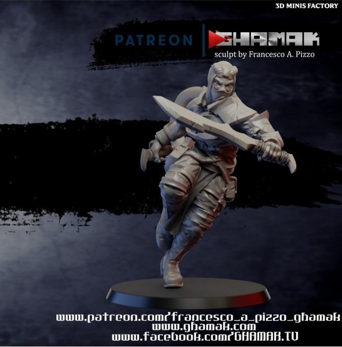 Fantasy Tiefling Rogue Ninja des Daemon créé par Ghamak de 3D Minis Factory