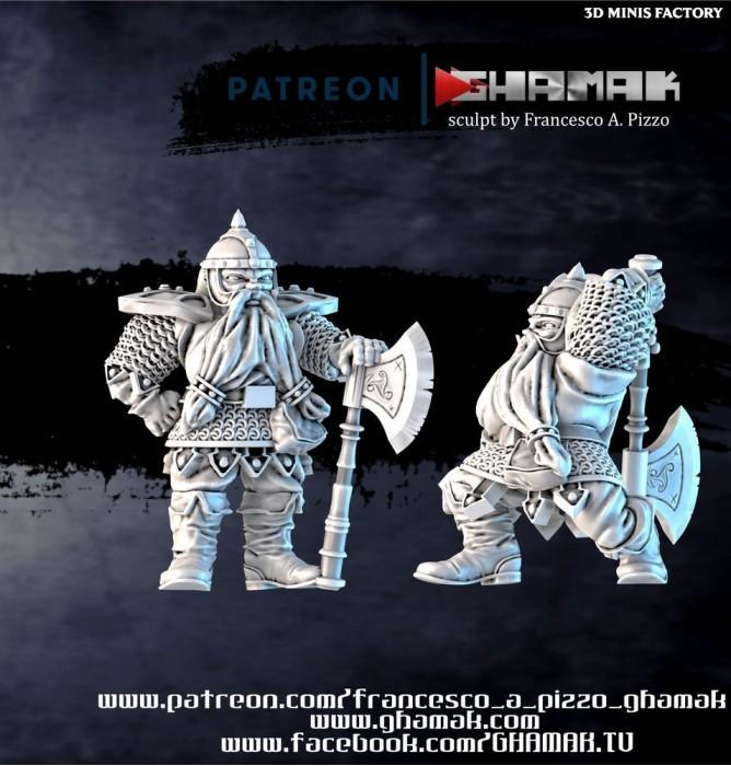 Dwarf Hero des Dwarves créé par Ghamak de 3D Minis Factory