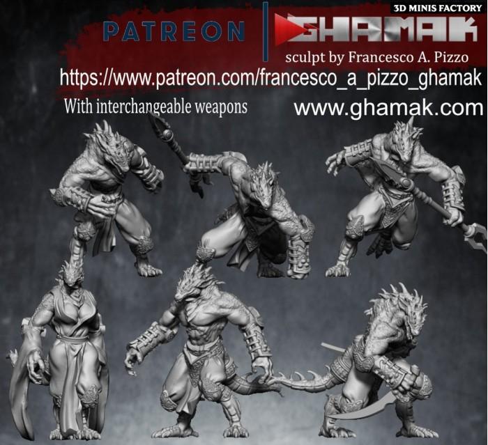 Dragon Born Team des Lizardmen créé par Ghamak de 3D Minis Factory