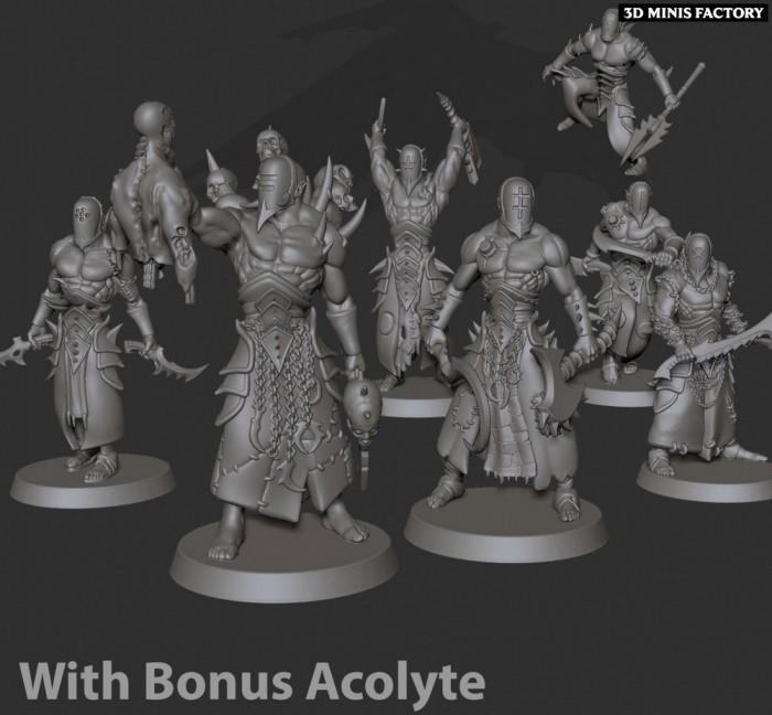 Warrior Squad 01 acolyte? des Cursed Elves créé par Edge Miniatures de 3D Minis Factory