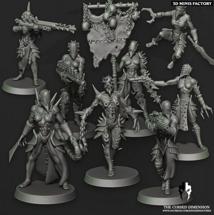 Warrior Squad - 02 des Cursed Elves créé par Edge Miniatures de 3D Minis Factory