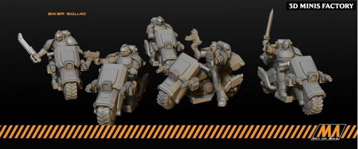 Biker Squad des Soldats Astra Militarum et Astartes créé par Art of Mike de 3D Minis Factory