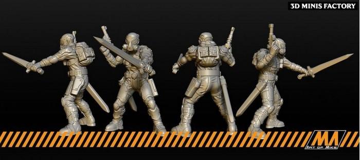 Guardians - 2 modèles des Cyberpunk créé par Art of Mike de 3D Minis Factory