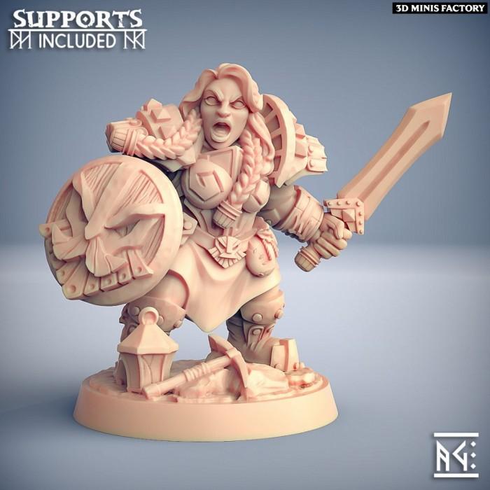 Dwarven Defender - C (Lady) Modular des Dwarven Defenders créé par Artisan Guild de 3D Minis Factory