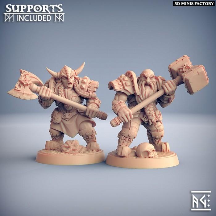Dwarven Two-Handed Specialists - 2 Modular Units des Dwarven Defenders créé par Artisan Guild de 3D Minis Factory