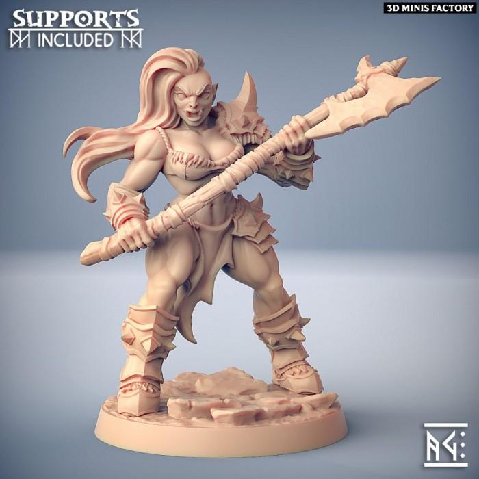 Orc Barbarian - C (Lady) Modular des Orc Barbarian créé par Artisan Guild de 3D Minis Factory