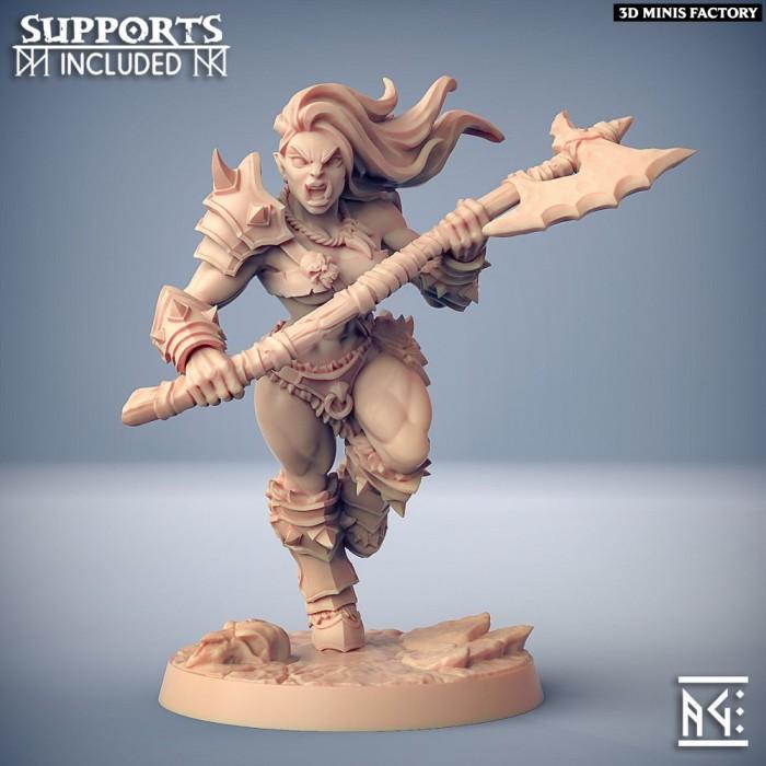 Orc Barbarian - D (Lady) Modular des Orc Barbarian créé par Artisan Guild de 3D Minis Factory