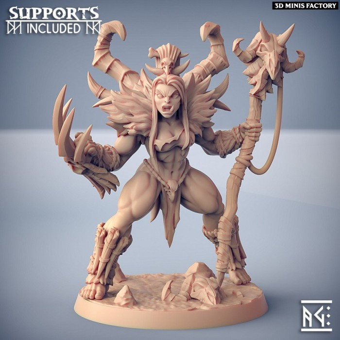 Vesdra the Shaman des Orc Barbarian créé par Artisan Guild de 3D Minis Factory