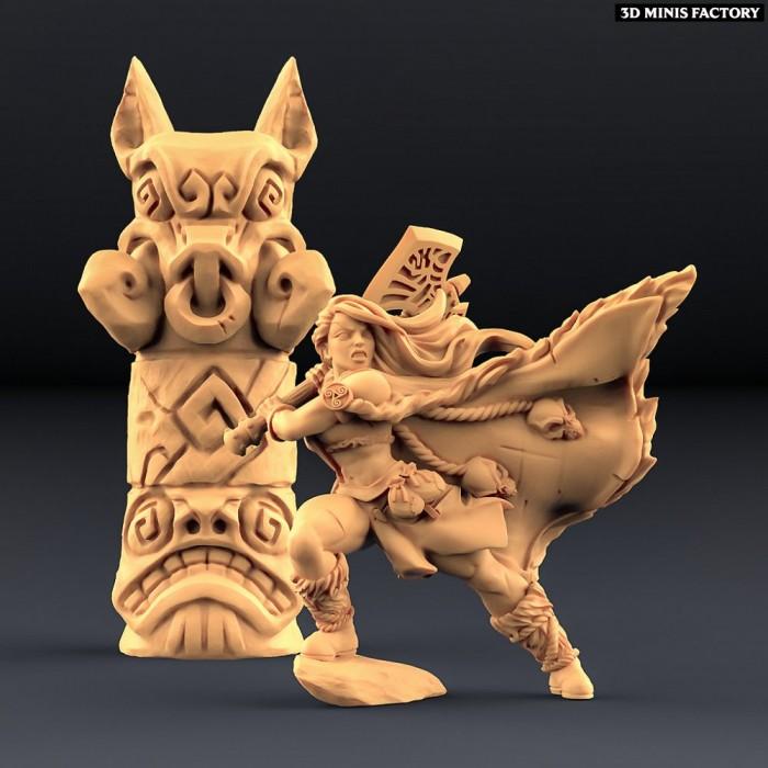 Franziska the Battlemaster & Boar Totem (AMAZONS! Kickstarter) des Amazons KickStarter créé par Artisan Guild de 3D Minis Fac...