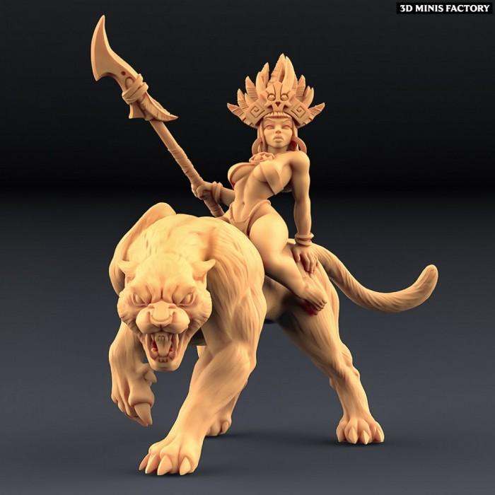 Kaata, Princess on Panther (AMAZONS! Kickstarter) des Amazons KickStarter créé par Artisan Guild de 3D Minis Factory