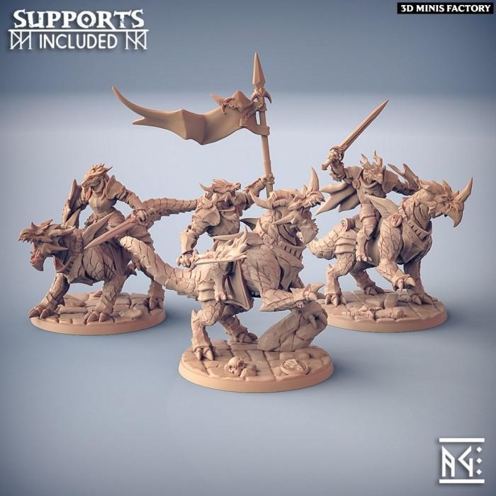 Dragonling Knights - 3 Modular Units with mounts des The Dragonguard créé par Artisan Guild de 3D Minis Factory