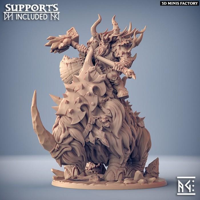 Gothrak on Armored Frosthorn des Frostmetal Clan créé par Artisan Guild de 3D Minis Factory