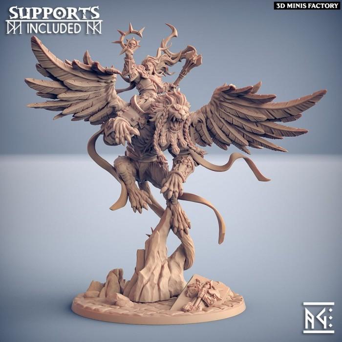 Agata on Proudmane the Winged Lion (Hero & Beast) des Requiem Brotherhood créé par Artisan Guild de 3D Minis Factory