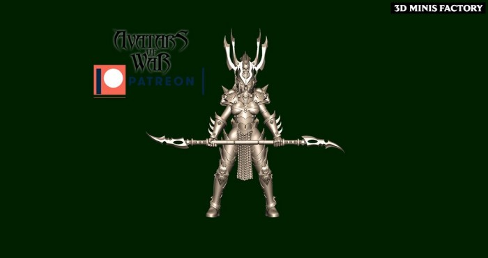 Dark Elf Princess 34 des Dark Elf créé par Avatars of War de 3D Minis Factory