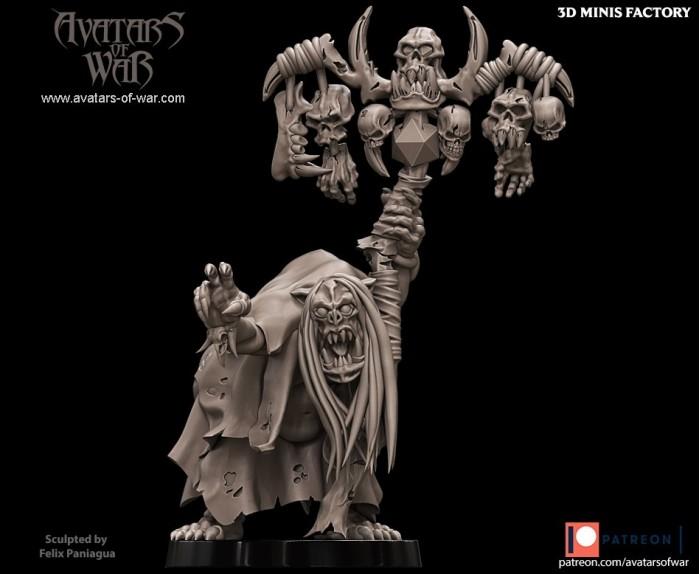 Orc shaman Character 15 des Orcs créé par Avatars of War de 3D Minis Factory