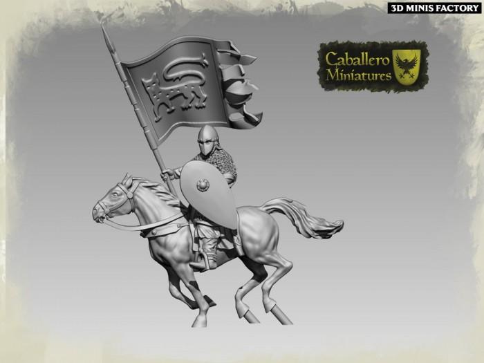 Catalan Standard Bearer des 11th Century Spanish Crusader créé par Caballero Miniatures de 3D Minis Factory