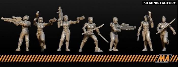 Cyber Girls des Cyberpunk créé par Art of Mike de 3D Minis Factory