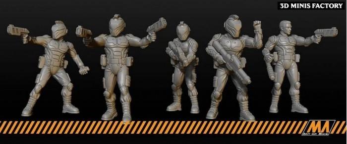 Cyberpunk Police des Cyberpunk créé par Art of Mike de 3D Minis Factory