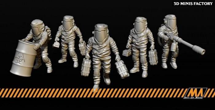 Hazmat Team des Apocalypse Survivor créé par Art of Mike de 3D Minis Factory