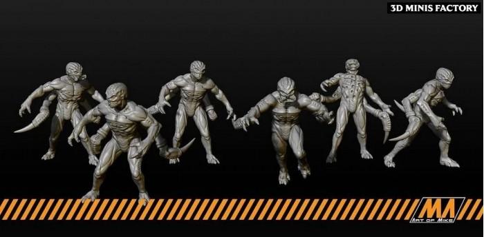 Alien Invaders des Apocalypse Survivor créé par Art of Mike de 3D Minis Factory