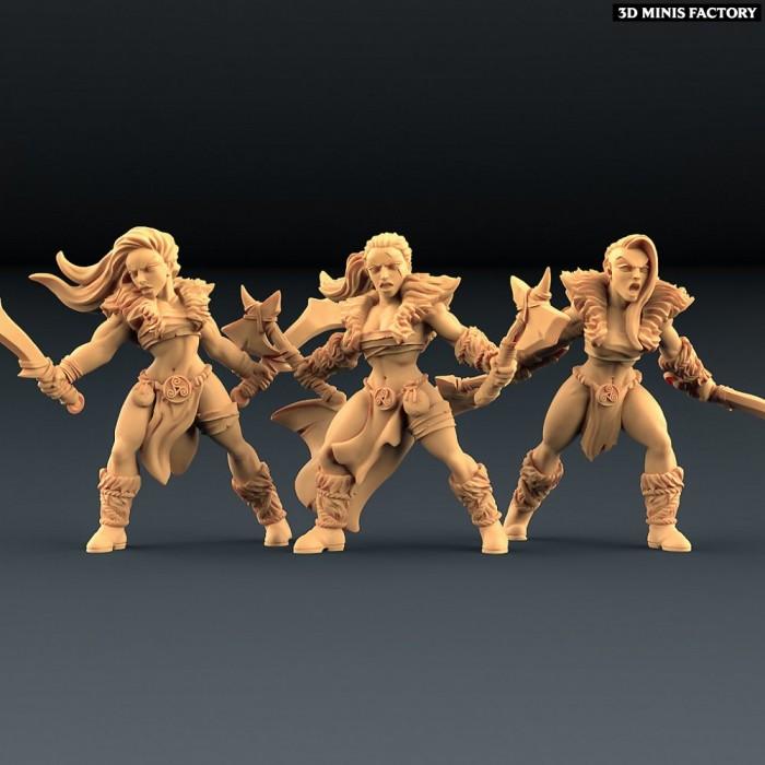 Barbarian Blademasters - 3 variantes des Amazons KickStarter créé par Artisan Guild de 3D Minis Factory