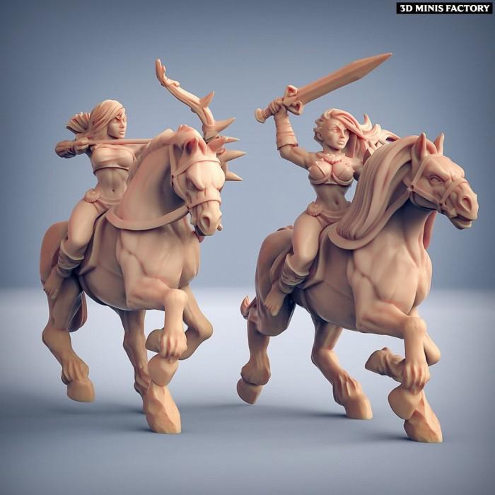 Amazon Horse Riders - 2 variantes des Amazons KickStarter créé par Artisan Guild de 3D Minis Factory