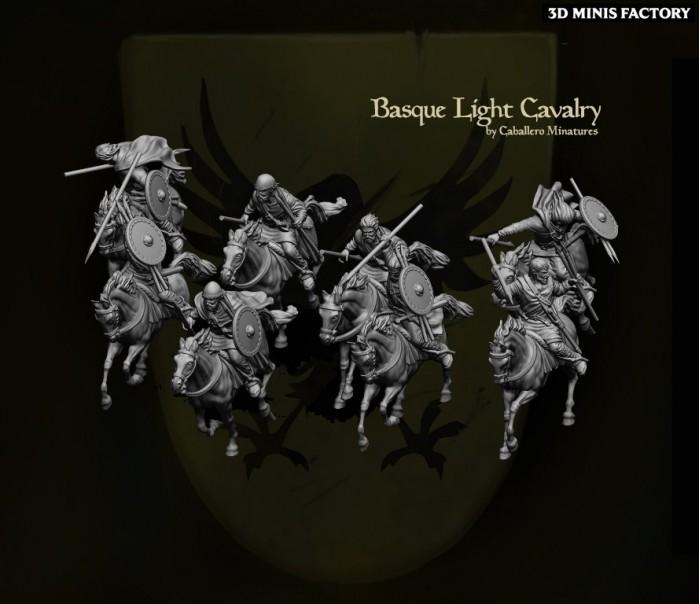 Basque Light Cavalry des 11th Century Spanish Crusader créé par Caballero Miniatures de 3D Minis Factory